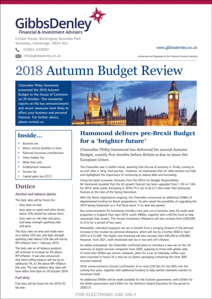 Autumn Budget Newsletter 2018