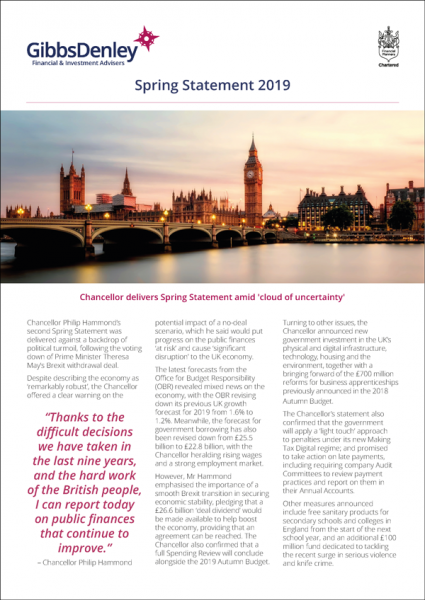 Spring Statement Newsletter 2019