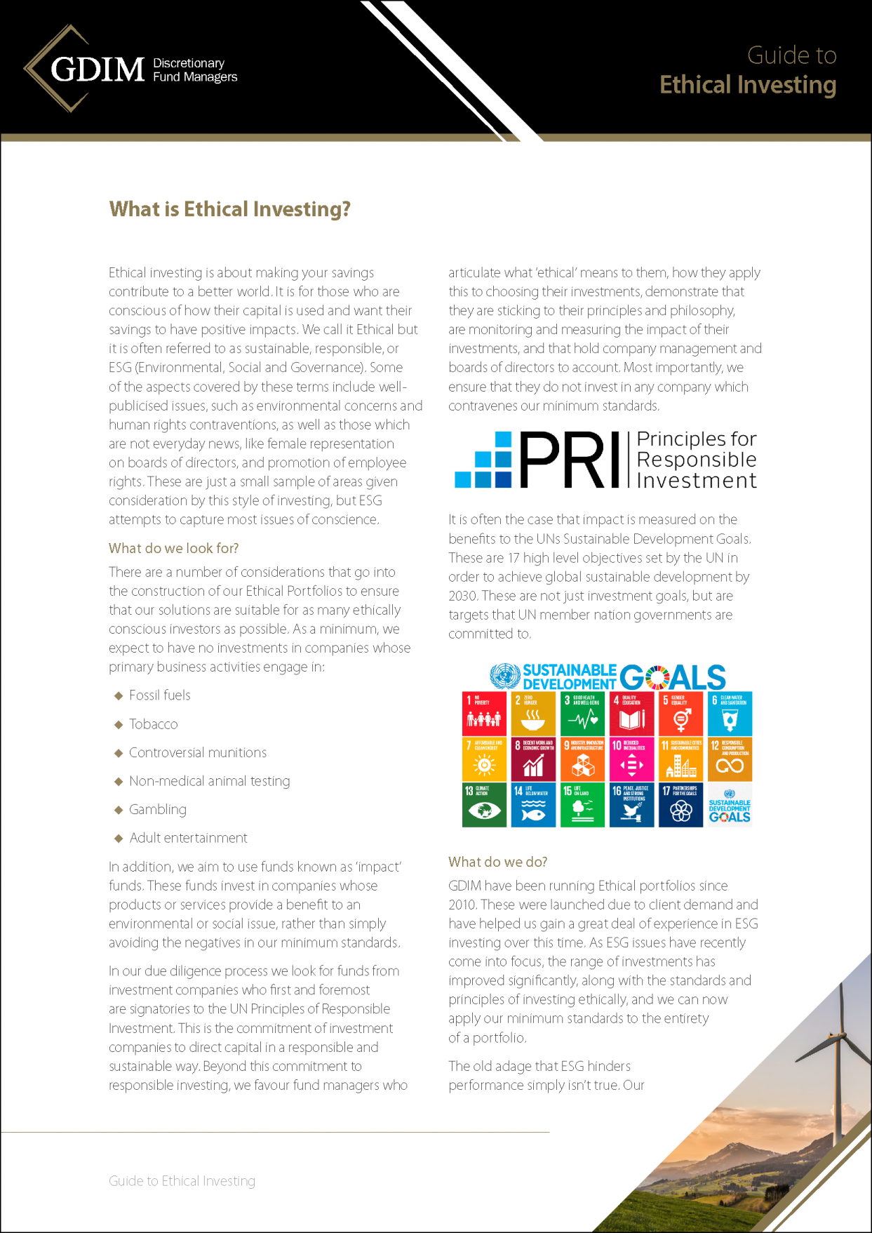 GDIM Guide to Ethical Investing